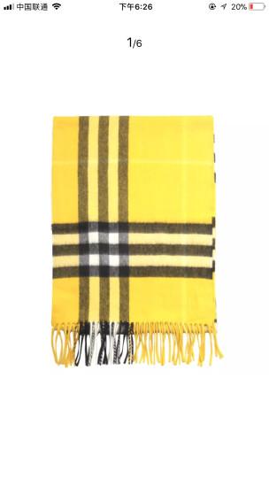 BURBERRY 巴宝莉 男女通用款金雀花黄色格纹羊绒围巾 40305011 晒单图