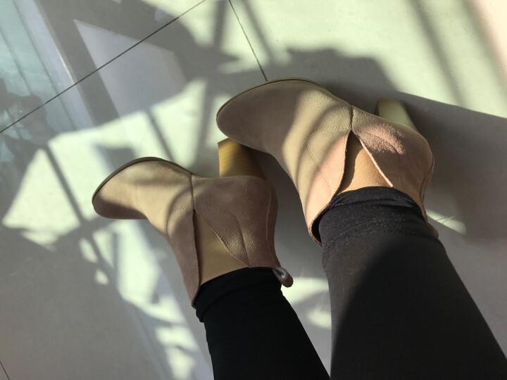 卡美尔威尼 短靴女真皮粗跟及裸靴高跟马丁靴尖头女靴2017冬季新款 黑色绒里 38 晒单图