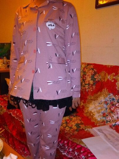 北极绒睡衣男夏季纯棉翻领睡衣女士新品春夏季棉质短袖家居服情侣套装 可外穿 女款4687 XL 晒单图