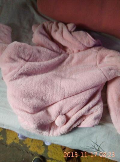 内美尔 韩版珊瑚绒羊羔绒家居服 睡衣女冬季加厚加绒保暖套装 可爱公主连帽大耳朵 浅粉色 均码 晒单图