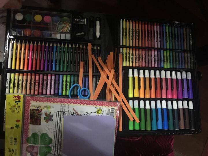 儿童画笔蜡笔绘画文具228件套画板礼盒木盒水彩笔学生用品彩绘蜡笔带画架套装 123件粉色木盒绘画套装 晒单图