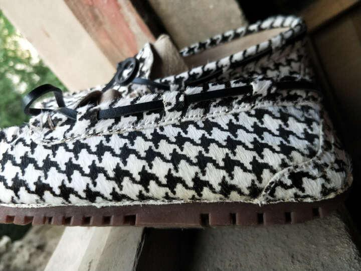 梵纪(VOCHAIN)春秋季女单鞋真皮透气百搭马毛时尚女豆豆鞋 斑马纹 38 晒单图