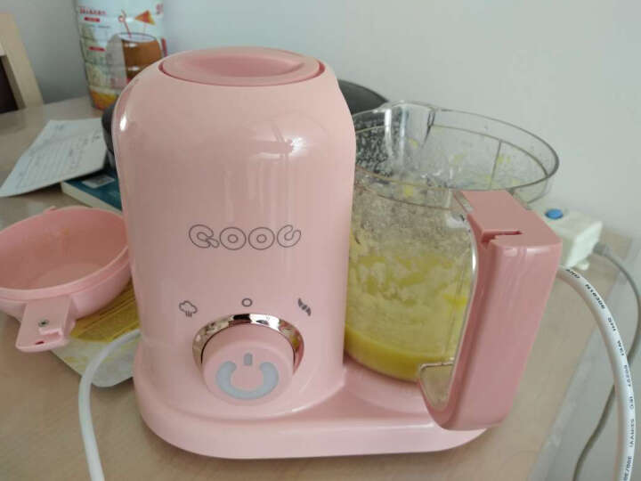 QOOC 多彩辅食机婴儿辅食机迷你多功能蒸煮搅拌一体机辅食研磨器 樱花粉 晒单图