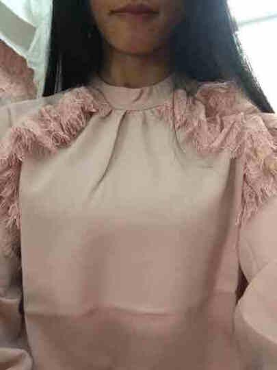 美诗琪玉雪纺衬衫女长袖2018秋装新款女装娃娃领韩版修身打底上衣洋气百搭小衫潮 粉色 M 晒单图