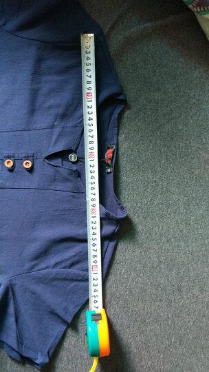 Mr.baidis 亚麻T恤男士2019新款中国风夏季棉麻短袖套装男装 A18卡其色 XL【适合125-135斤】 晒单图
