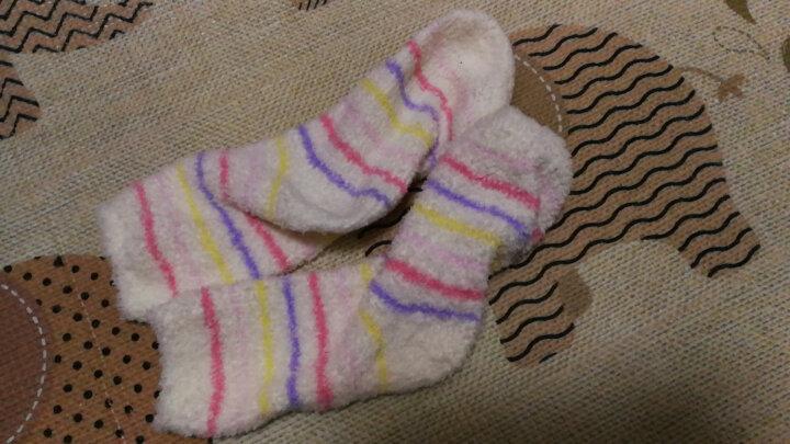 心地良品袜子女地板袜家居睡眠袜月子袜孕妇宽松口加绒袜空调保暖袜子米白五彩条纹 2双装 晒单图