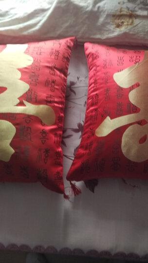 洁絮新年婚庆福字大红绸缎抱枕一对沙发靠垫办公室靠枕床头靠背汽车护腰靠垫腰枕垫公司会销礼品 大红喜字抱枕一对 45cm*45cm 晒单图