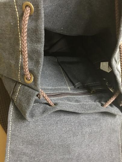 豆鼓眼(DouGuYan)帆布双肩背包男韩版女休闲旅行15.6英寸书包G00121古橙色有图案 晒单图