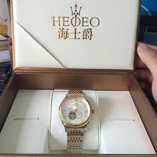 海士爵(HEOJEO)瑞士品牌黄金罗盘系列 全自动男士手表 蓝宝石防水钢带机械表 尊贵金表 活力黑-新款上市 晒单图