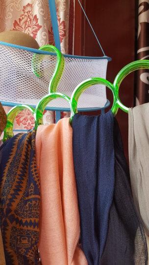 欧润哲 衣架 5格围巾挂架 丝巾皮带小物件收纳圈 蓝绿玫3个装 晒单图