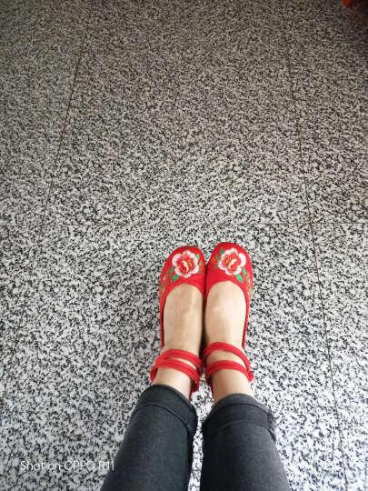 老北京绣花布鞋 16 红尾孔雀 婚鞋民族风广场舞女鞋LLX 红色 37 晒单图