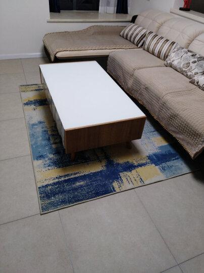 津益郎现代简约艺术抽象水墨客厅地毯茶几卧室满铺地毯亚麻北欧式长方形 170616A 80*126厘米床边地毯 晒单图