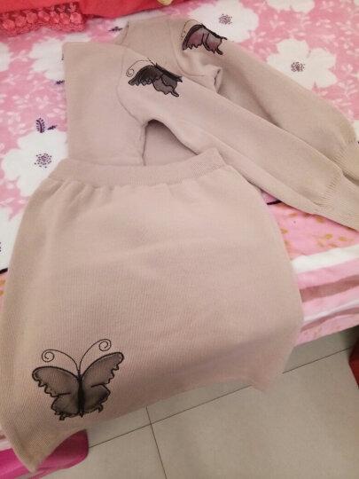 南极人 连衣裙女2018秋冬新品毛衣包臀短裙套装女蝴蝶针织两件套 LX722 灰色 L 晒单图
