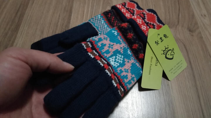 公主兔秋冬天冬季韩版毛线手套女士可爱雪花小鹿针织厚保暖分指五指手套 粉色雪花 晒单图