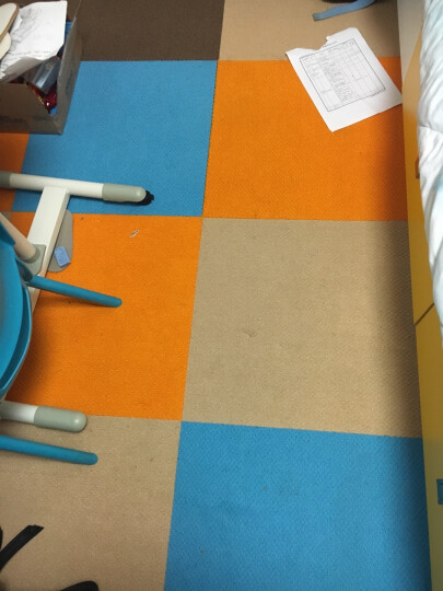 免胶地毯 地毯卧室满铺客厅隔音自吸式毛绒拼接地毯 日本进口日毯 (一箱16片装) HT107浅蓝 晒单图