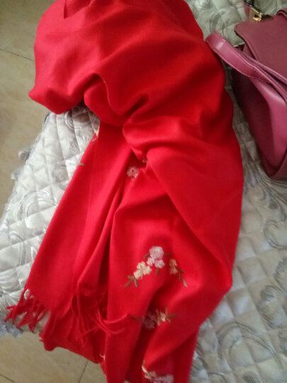蝶舞翩翩仿羊绒围巾披肩女士秋冬季保暖围脖羊毛围巾两用 大红 晒单图