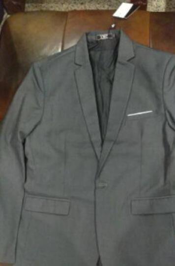 富贵鸟西服男新款男士修身大码小西装新郎礼服职业装商务正装有套装 黑色单西 M 晒单图