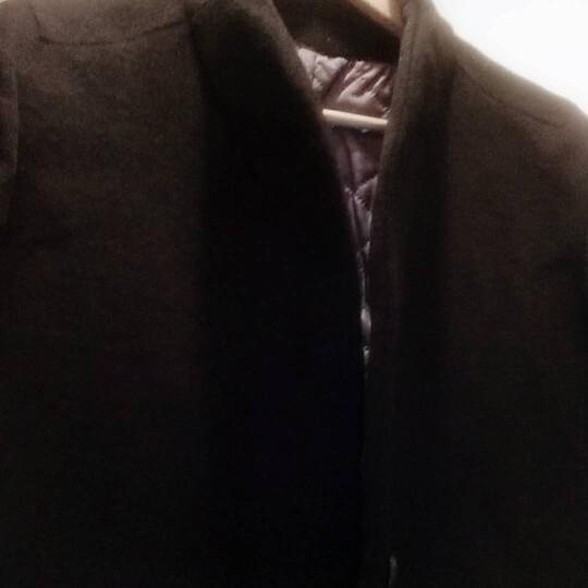 花花公子贵宾 毛呢大衣男 2017秋季新款韩版潮男修身羊毛呢外套 中长款英伦呢子大衣 1681黑色 L(120-140斤) 晒单图