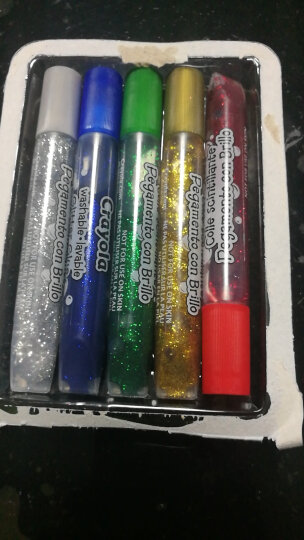 绘儿乐(Crayola)绘画工具 diy玩具 5色可水洗粗头彩笔画笔闪光胶 69-3522 晒单图