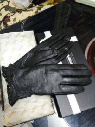 皮手套女WARMEN品牌进口小羊皮手套女式秋冬季开车骑车女士真皮手套花边保暖款 L001 黑色触摸版 M码 晒单图