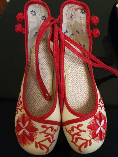 老北京绣花布鞋低帮太阳花 婚鞋民族风牛筋底广场舞鞋4oNoBez9HN 红色 36 晒单图