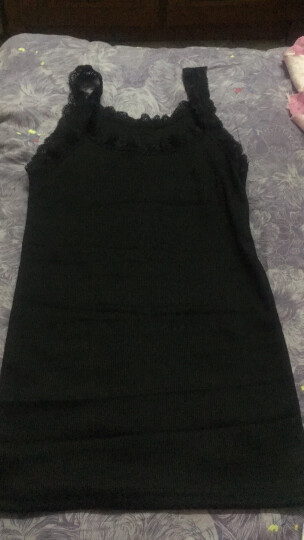 时尚总动员 蕾丝花边拼接螺纹棉吊带背心女士内搭外穿打底衫修身短款无袖上衣夏 黑色工字 均码80-140斤 晒单图