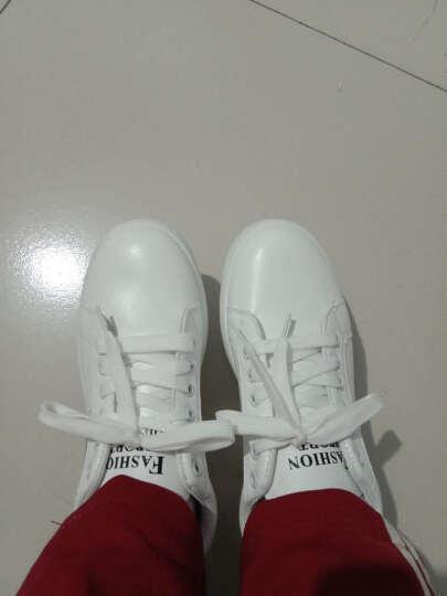 道琪安2018女鞋休闲鞋韩版平底运动圆头系带低帮学生时尚小白鞋女 白色 37 晒单图