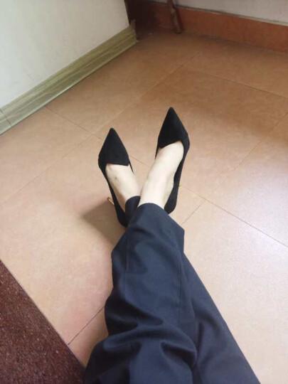 蓝晨语依 春季欧洲站新款女士单鞋时尚百搭细跟尖头超浅口高跟鞋潮 军绿色 39 晒单图
