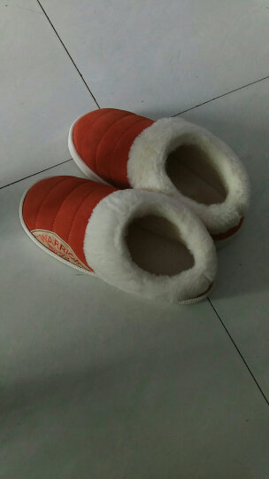 回力包跟棉拖鞋男女秋冬季可爱条纹情侣拖鞋月子鞋防滑居家保暖鞋 桔红HL1776 40/41一-建议39--40 晒单图