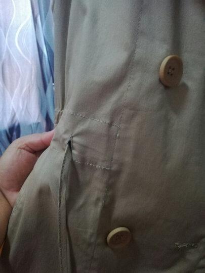 MsShe加大码女装2018新款春装韩版显瘦修身休闲抽绳长款风衣外套M1813050 卡其 3XL 晒单图