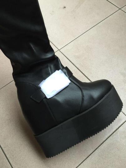欧美明星铆钉防水台坡跟过膝长靴夜店女王超高跟厚底高筒松糕靴2017新款 黑色 40 晒单图