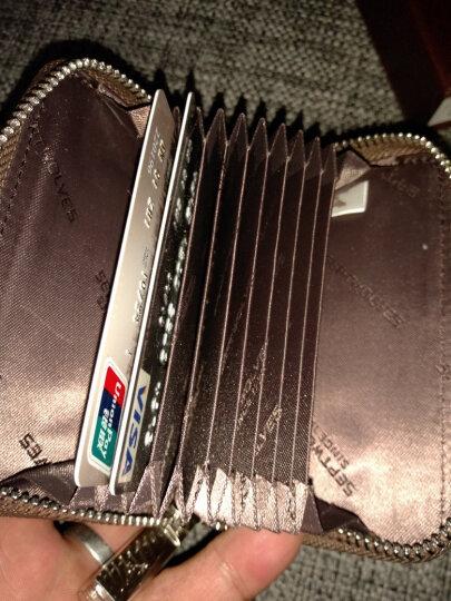 七匹狼(SEPTWOLVES) 男士风琴卡包名片夹多功能钱包男卡套 男女牛皮卡片夹证件包 卡其色3A3064221-09 晒单图