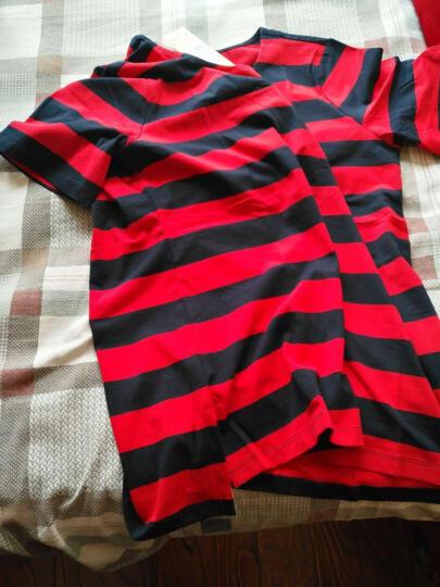 芭黎密语 夏装韩版半袖条纹上衣短袖女t恤不对称宽松纯棉打底衫大码女装 红蓝条纹 XXXL 晒单图