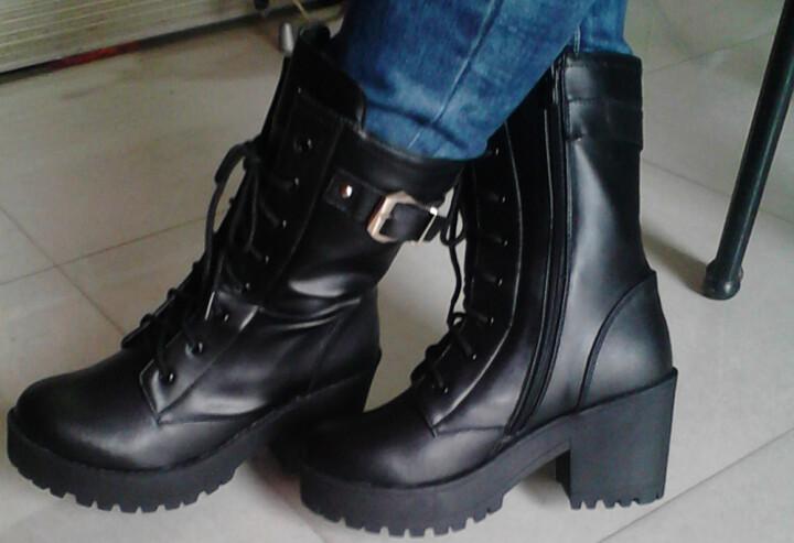 仟宇丹妮秋冬新款女靴马丁靴女粗跟短靴中筒靴骑士靴女鞋高跟鞋子 806印花单里 38 晒单图