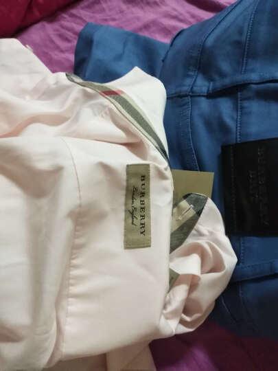 巴宝莉(BURBERRY)男装 奢侈品衬衫棉府绸纯色长袖衬衣 复古格子8020881法兰绒海军蓝 XS/14码 晒单图