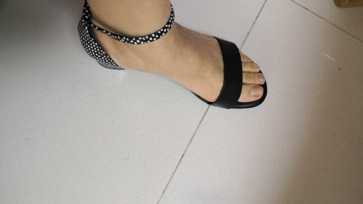 DG2018新款女士夏季真皮露趾粗跟鞋中空一字扣带中高跟凉鞋女白色 黑色 37 晒单图