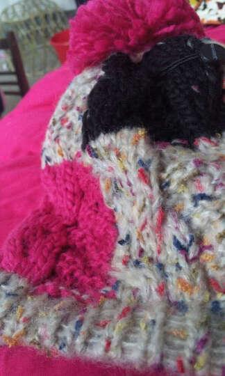 LACKPARD冬季帽子女士针织帽韩版潮帽毛线帽绒线帽加厚保暖护耳帽滑雪套头球球帽子 红色 均码 晒单图