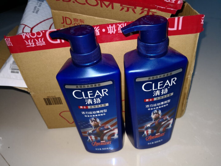 【京东超市】清扬(CLEAR)男士洗发露 活力运动薄荷型 美国队长限量版 500ml 晒单图