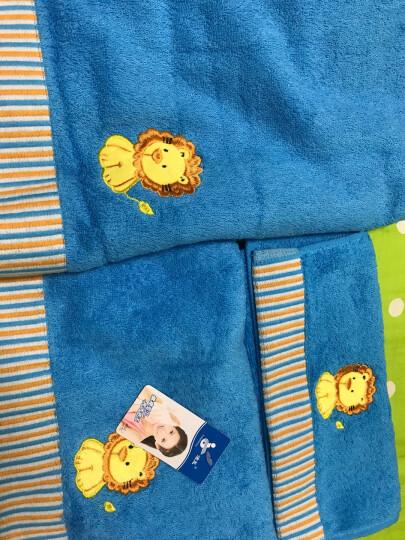 孚日洁玉纯棉毛巾/浴巾/童巾 卡通绣花五彩心情儿童家庭装三件套 蓝色 晒单图