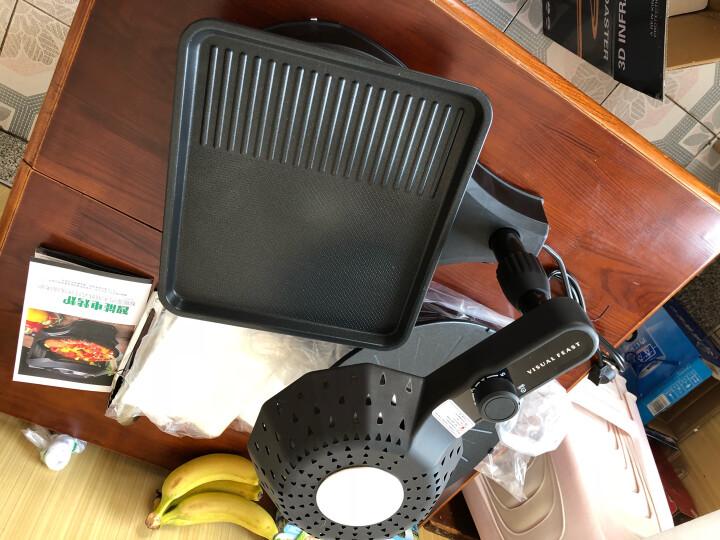 卡卡熊(kakaxiong) 家用自动旋转电烧烤炉红外烧烤盘韩式烤盘不粘锅室内烤肉锅多功能电烤炉 黑色旋钮款(配圆形和方形烤盘+送礼包) 晒单图