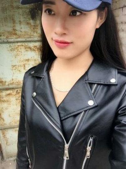 小皮衣女短款皮外套秋冬新款加厚保暖修身皮夹克 黑色加厚保暖款 L 晒单图