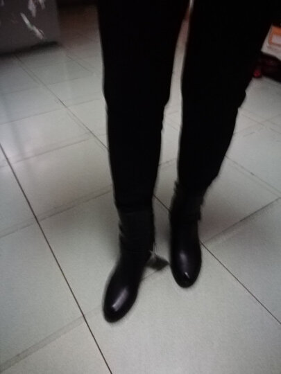 粗跟短靴女靴坡跟女鞋冬季低筒长靴子女士中跟马丁靴加绒保暖棉鞋雪地靴中筒靴踝靴 黑色 41正码 晒单图