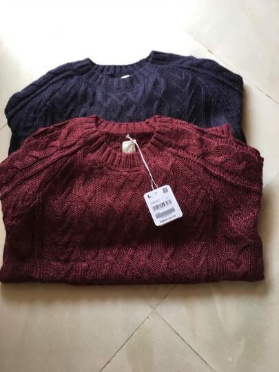 佐丹奴Giordano女装针织衫厚实纽绳插肩袖套头针织衫05356666 39波特酒红色 大码(165/84A) 晒单图