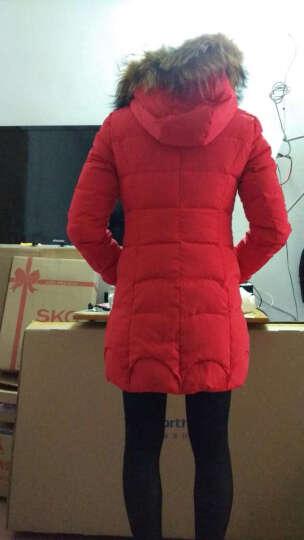 弥瑞尔 羽绒服女中长款2015冬季新款大码修身貉子毛大毛领加厚韩版羽绒外套女 红色 L 晒单图