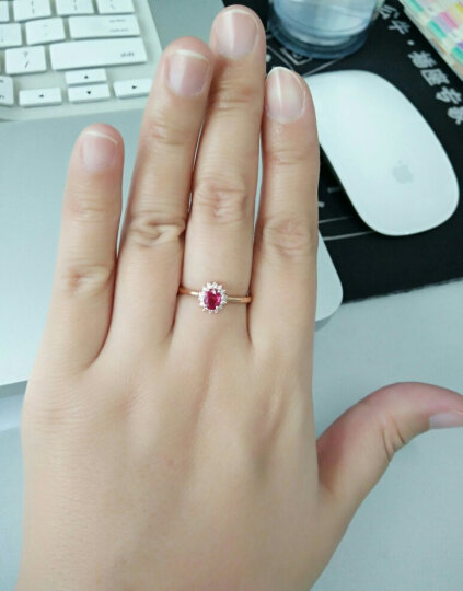 米莱 珠宝红宝石女戒指女 18K金镶嵌钻石鸽血红宝石戒指 戴妃款 主石1.12克拉 13号 现货 晒单图