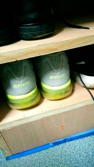 鸿星尔克男鞋运动鞋秋冬季减震全掌气垫鞋情侣款 正黑/酸橙绿 40 晒单图