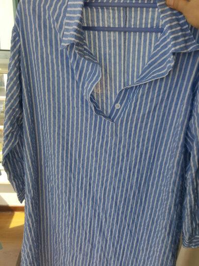 宿遇2018秋装款森林流淌的小溪蓝色条纹长袖衬衫连衣裙0835YY-清仓 浅蓝色 XXXL 晒单图