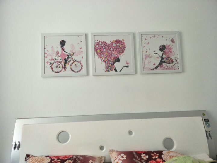 小清新卧室床头装饰画女孩儿童房挂画简约现代客厅沙发背景墙壁画餐厅有框画花仙子 A款一套三幅 45*45cm黑色框 晒单图