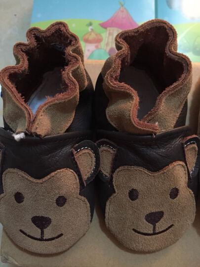屁屁熊(PIPI KOALA) 牛皮软底婴儿鞋春秋款学步鞋0-1-2岁男女宝宝防掉室内鞋 米色圆圈 12-18月/内长13.5CM 晒单图