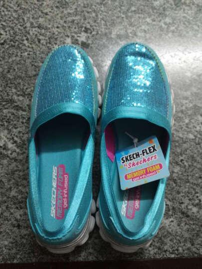 斯凯奇(Skechers) 女童休闲鞋帆布鞋 舒适套脚豆豆鞋低帮平底女童鞋81216 青绿色/多彩色 33.5码 晒单图